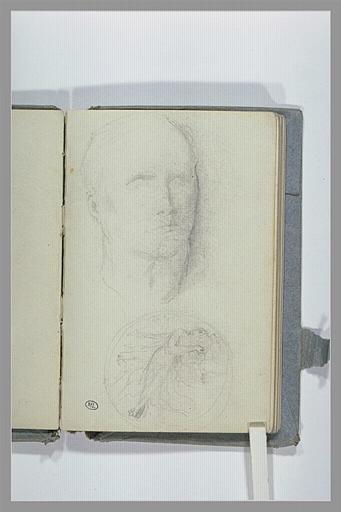 CHAPU Henri Michel Antoine : Croquis d'une tête d'homme, et un médaillon