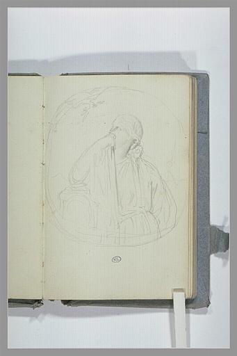 CHAPU Henri Michel Antoine : Médaillon avec une figure assise, accoudée