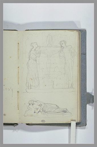 CHAPU Henri Michel Antoine : Deux figures, de part et d'autre d'une fontaine, et une figure couchée