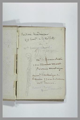 CHAPU Henri Michel Antoine : Croquis d'une crosse et annotations