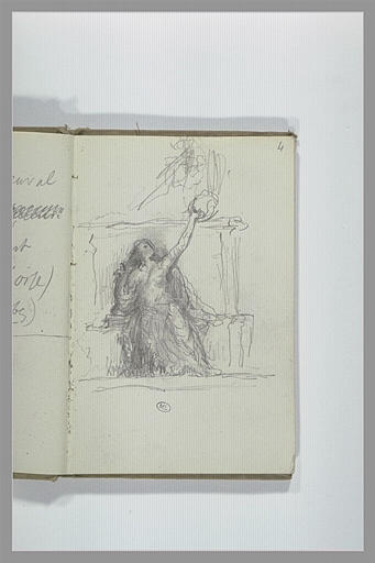 CHAPU Henri Michel Antoine : Figure assise, tendant le bras gauche