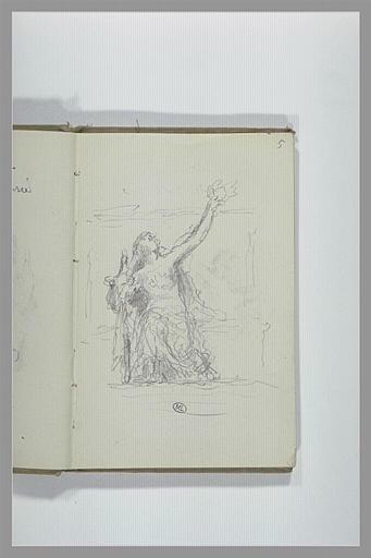 CHAPU Henri Michel Antoine : Croquis d'une figure assise, tendant le bras gauche