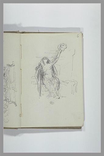 CHAPU Henri Michel Antoine : Figure assise, le bras levé