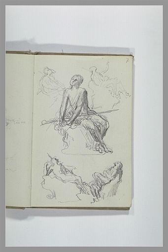 CHAPU Henri Michel Antoine : Divers croquis de personnages assis, pour une statue