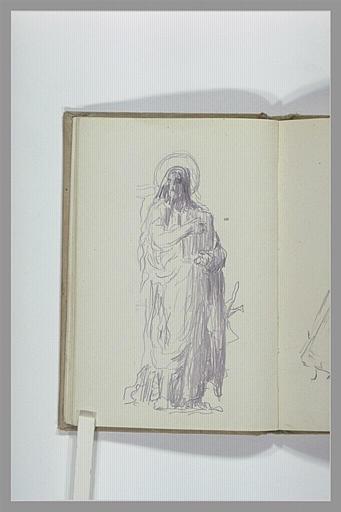 Figure drapée, et auréolée portant un livre_0