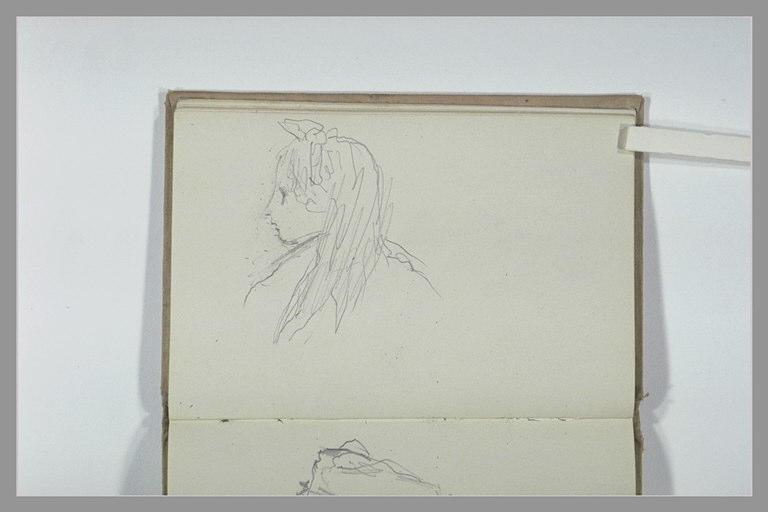 CHAPU Henri Michel Antoine : Buste de jeune fille, de profil à gauche