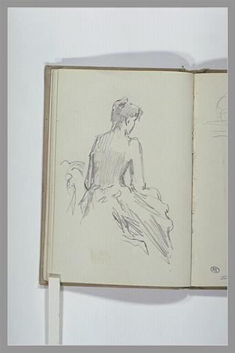 CHAPU Henri Michel Antoine : Femme, assise, à demi nue, vue de dos