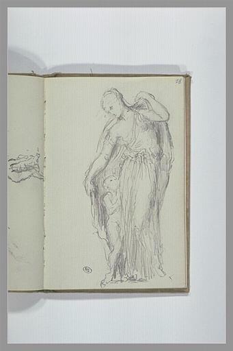 CHAPU Henri Michel Antoine : Femme drapée à l'antique, enveloppant de sa tunique un enfant nu