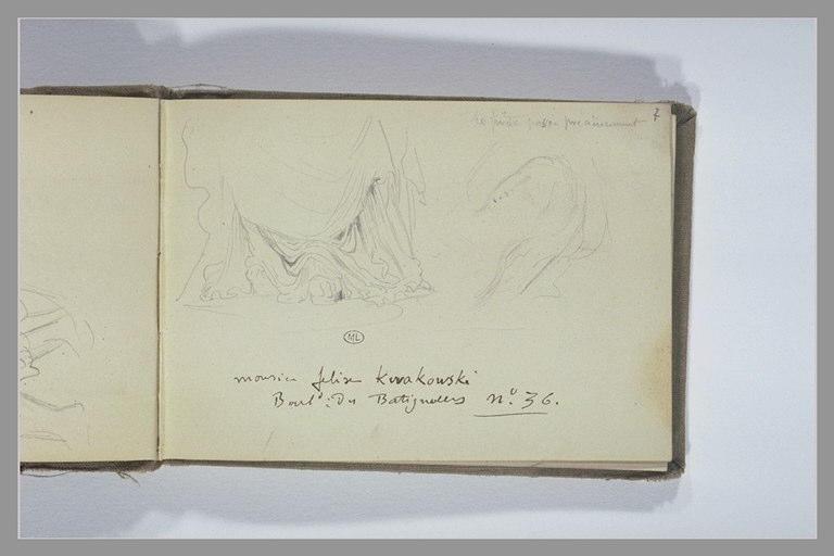 Draperie ; figure en buste ; notes manuscrites