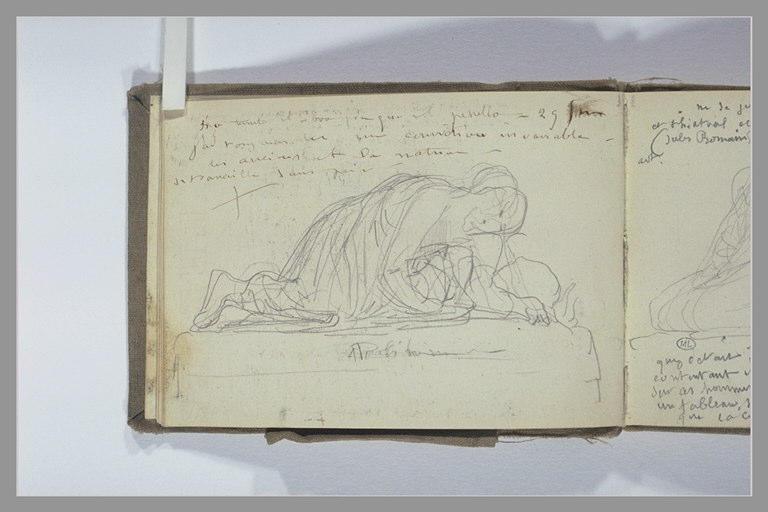 CHAPU Henri Michel Antoine : Note manuscrite, figure agenouillée, buste baissé