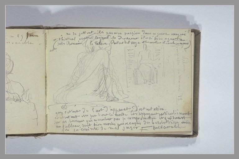 CHAPU Henri Michel Antoine : Notes manuscrites, figure agenouillée, monument avec une figure assise