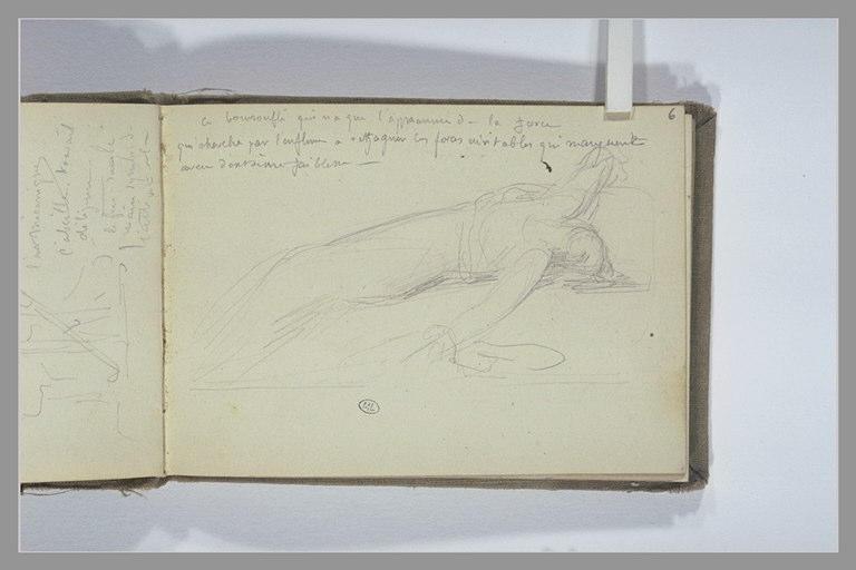 CHAPU Henri Michel Antoine : Note manuscrite, figure allongée