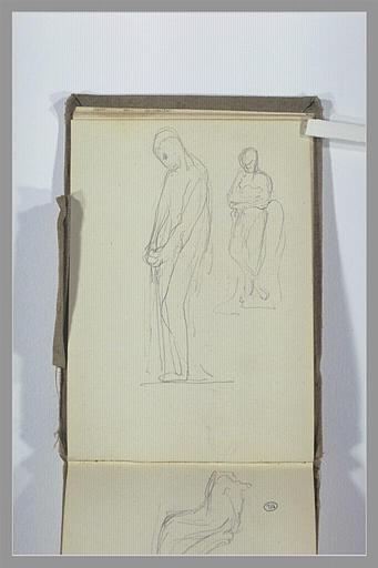 Figure, debout, mains jointes ; figure, debout, bras croisés