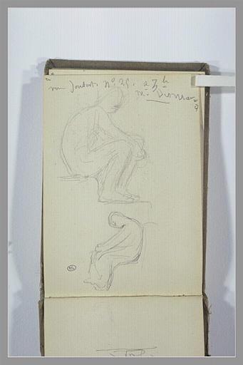 CHAPU Henri Michel Antoine : Note manuscrite, deux études de figures assises de profil