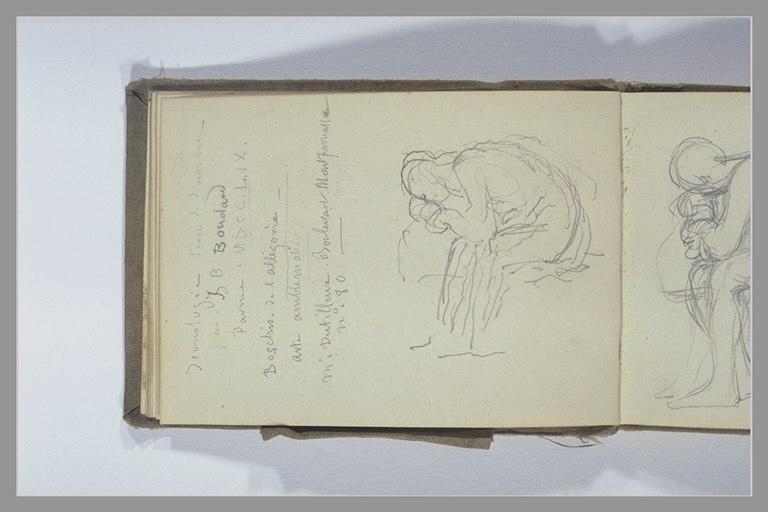 Figure assise, le buste baissé ; notes manuscrite
