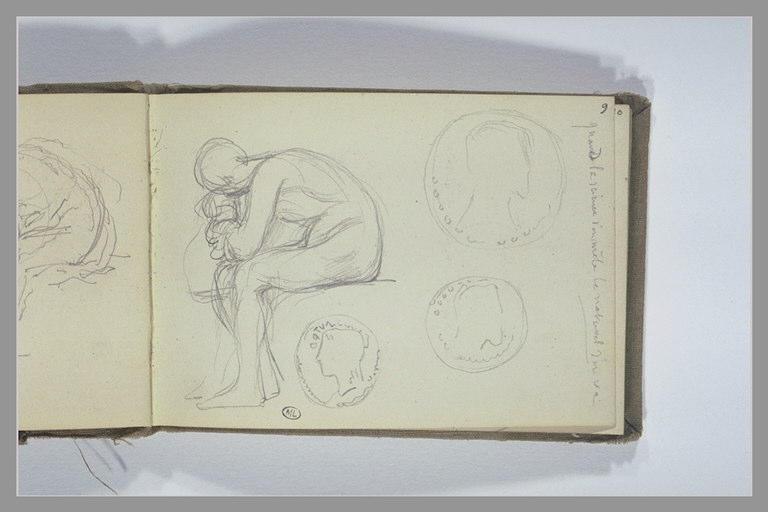 CHAPU Henri Michel Antoine : Figure assise, le buste baissé, trois études de médaillons