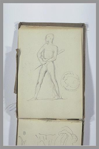 CHAPU Henri Michel Antoine : Homme nu debout, médaillon