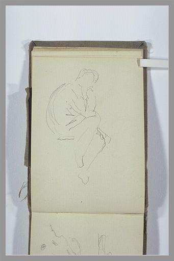 CHAPU Henri Michel Antoine : Figure assise, le menton posé sur la main