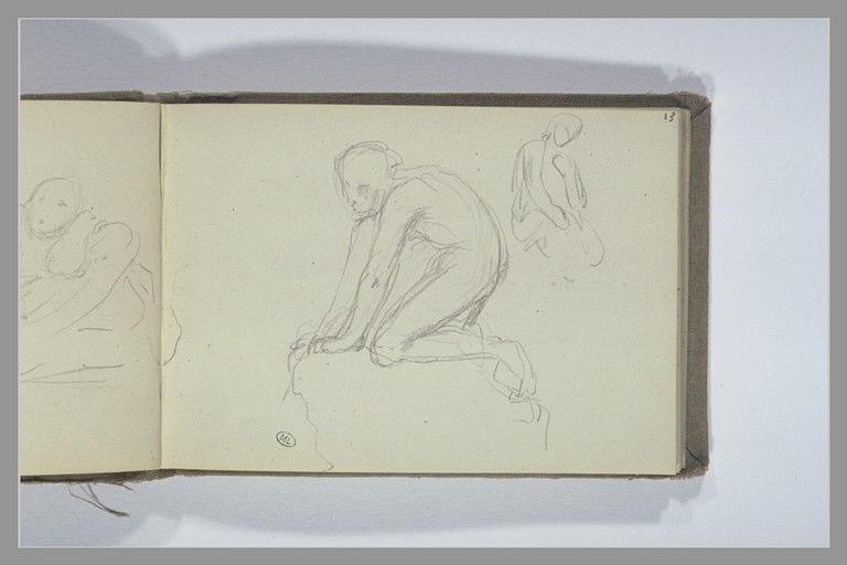 CHAPU Henri Michel Antoine : Une figure accroupie, croquis d'une figure assise