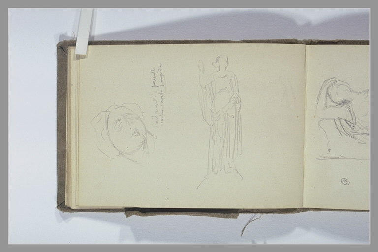 CHAPU Henri Michel Antoine : Femme drapée, debout, levant la main droite, tête de femme