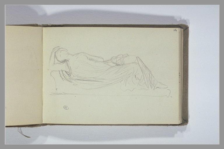 CHAPU Henri Michel Antoine : Une figure drapée allongée
