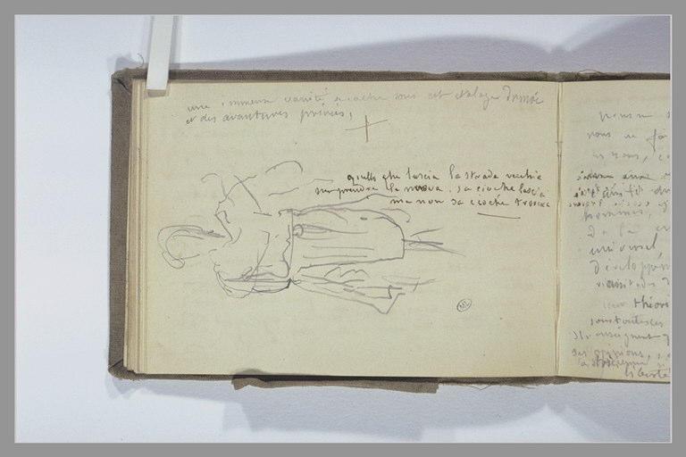 CHAPU Henri Michel Antoine : Une figure debout, notes manuscrites
