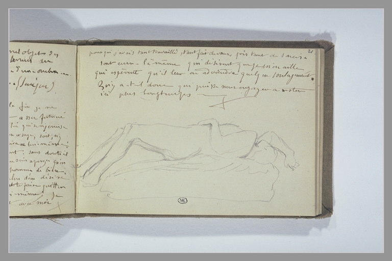 CHAPU Henri Michel Antoine : Figure allongée sur le dos, note manuscrite