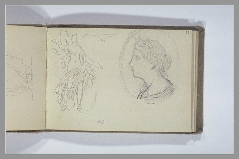 Une femme à demi drapée ; femme, en buste de profil dans un médaillon