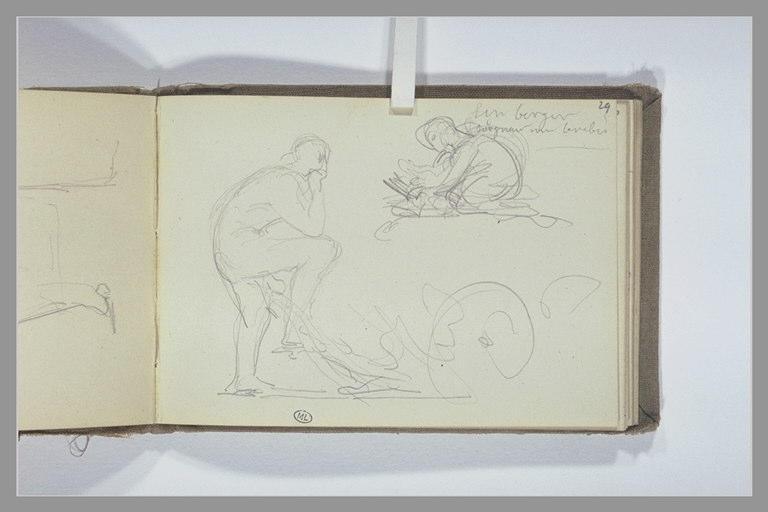 Homme debout appuyé sur une charrue ; un berger soignant une brebis_0
