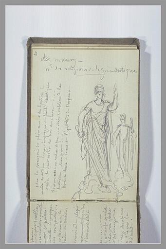 Deux études d'une femme debout tenant une épée ; notes manuscrites
