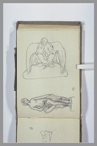CHAPU Henri Michel Antoine : Figure assise, jambes croisées, femme nue assise
