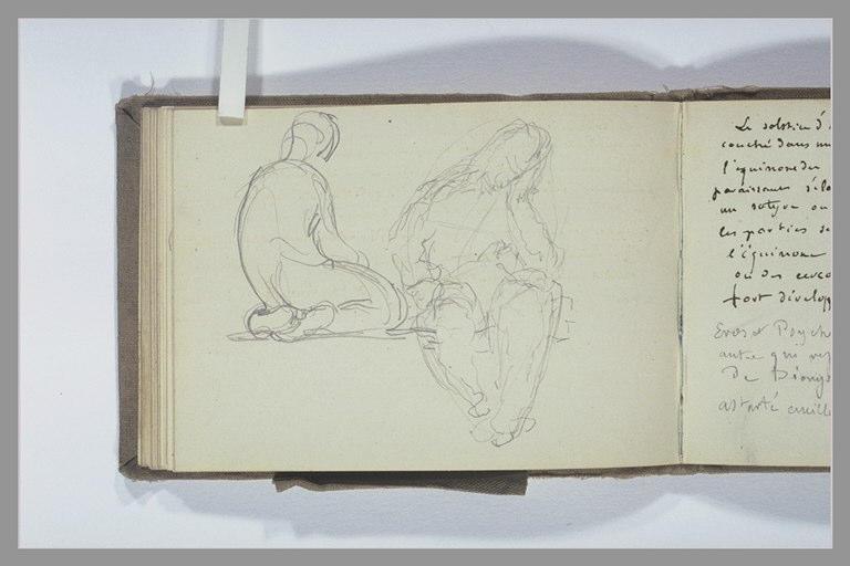 Figure assise sur ses talons, de dos ; figure assise, jambes pendantes