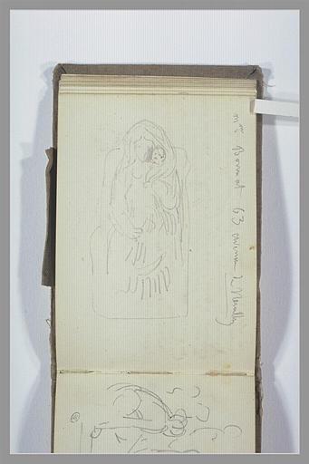 Statue d'une femme assise tenant un enfant ; adresse manuscrite