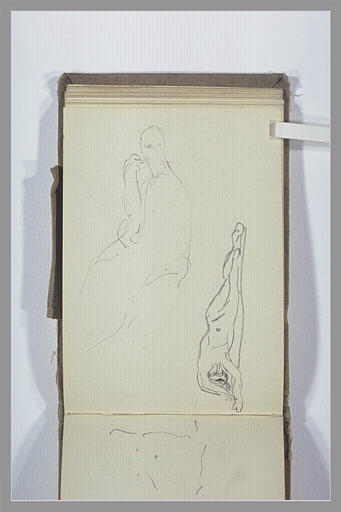 Figure assise de profil ; figure nue allongée
