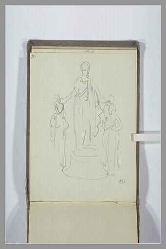 Statue d'une figure debout, posant ses mains sur deux figures