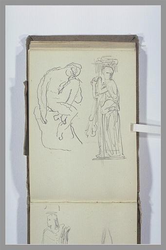 CHAPU Henri Michel Antoine : Figure assise, statue d'une figure debout