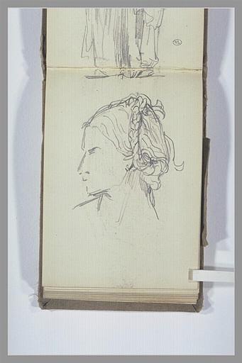 Tête de femme ; bord d'une draperie
