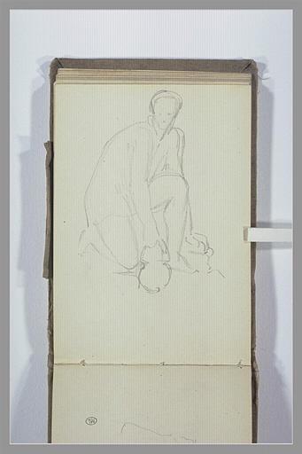 CHAPU Henri Michel Antoine : Figure, un genou à terre