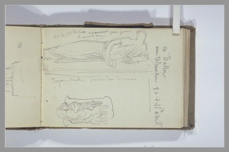 CHAPU Henri Michel Antoine : Figure drapée allongée, notes manuscrites, statue d'une femme et un enfant