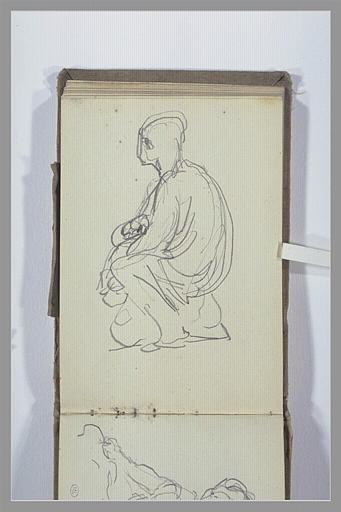 CHAPU Henri Michel Antoine : Figure assise, de profil
