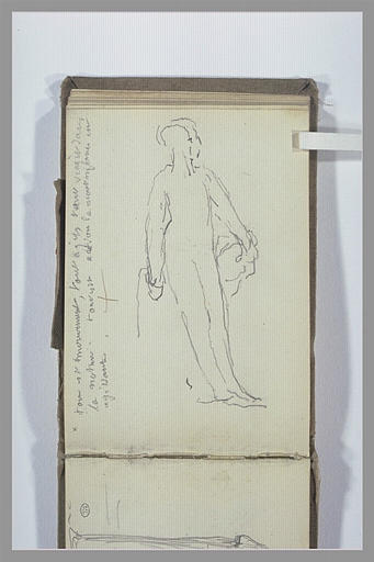 Figure debout ; note manuscrite
