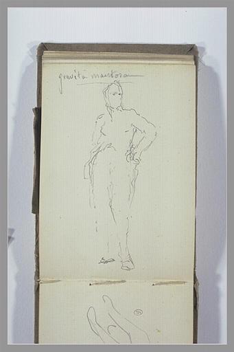 CHAPU Henri Michel Antoine : Figure debout et indication manuscrite
