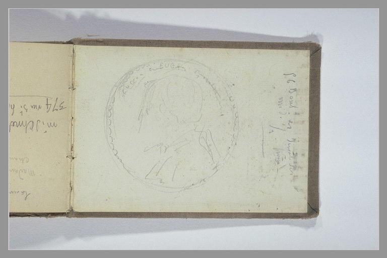 CHAPU Henri Michel Antoine : Buste dans un médaillon, note manuscrite