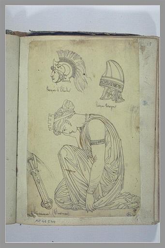 Deux casques antiques ; femme grecque vaincue_0