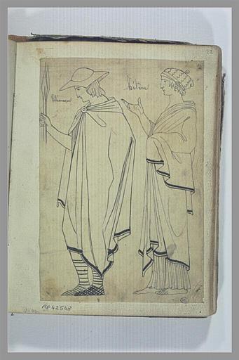 Deux figures d'après l'antique : Télémaque et Hélène
