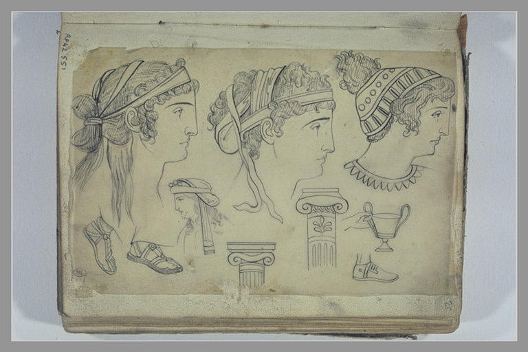 YVON Adolphe : Etudes de têtes, de sandales et de colonnes d'après l'antique