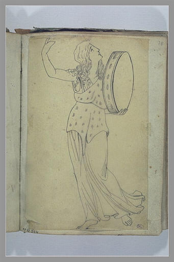 YVON Adolphe : Etude d'une figure jouant de la musique, d'après l'antique