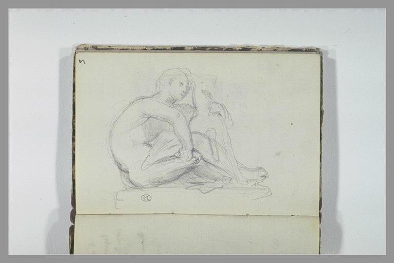 CHAPU Henri Michel Antoine : Homme assis avec un chien