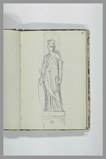 CHAPU Henri Michel Antoine : Statue d'une femme couronnée, drapée, tenant un bouclier