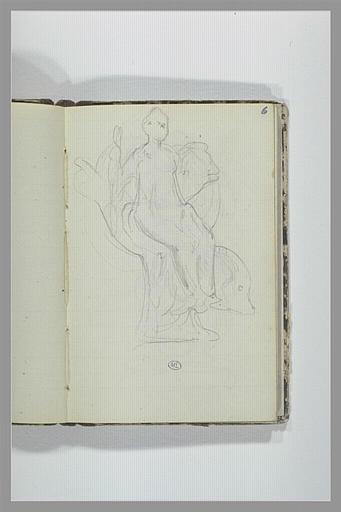 CHAPU Henri Michel Antoine : Femme assise dans un fauteuil, un dauphin à ses pieds